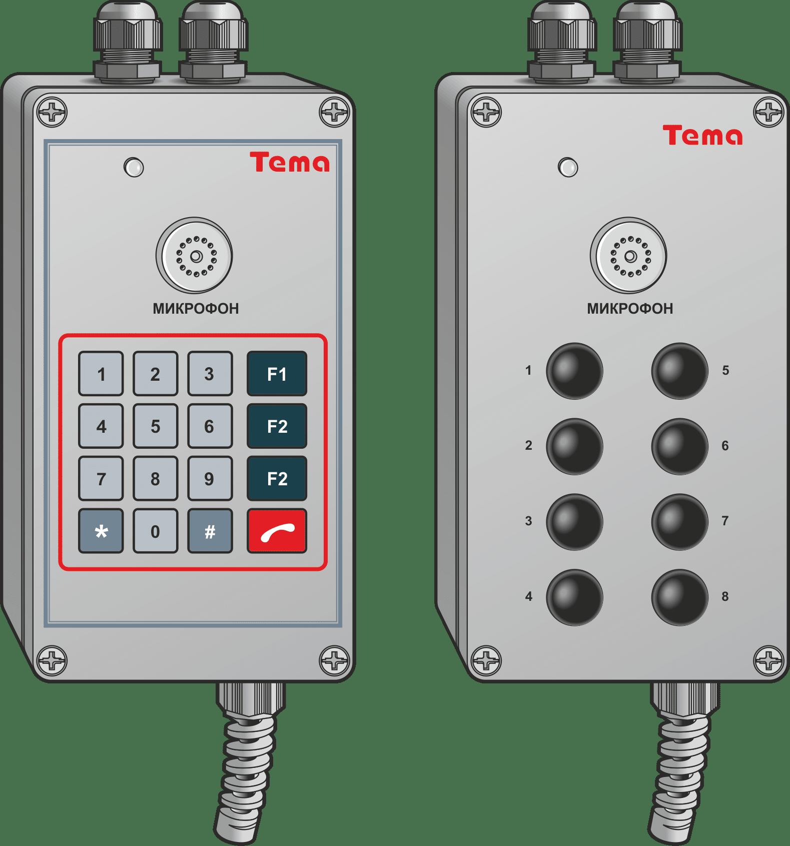 Переговорное устройство Аналоговые всепогодные телефоны Tema-Ex1.x2